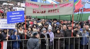 Thousands rally in Russia'€™s southwest to support Russian speakers in Ukraine