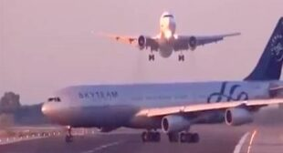 Airbus 340 and Boeing 767 nearly collide at Barcelona airport – video