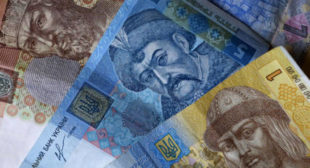 Ukrainian currency plunges to new record low