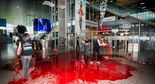 """No weapons for Israel!"" Protest group pours fake blood in Belgium airport"