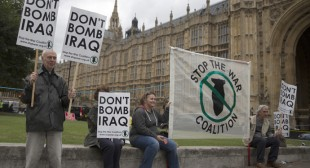 'Iraq III No!' Anti-war activists call London protest against UK airstrikes