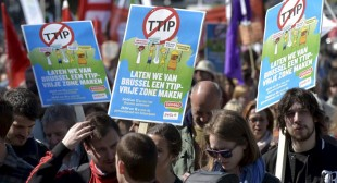 Protesters Europe wide march against controversial trade deal between EU & US